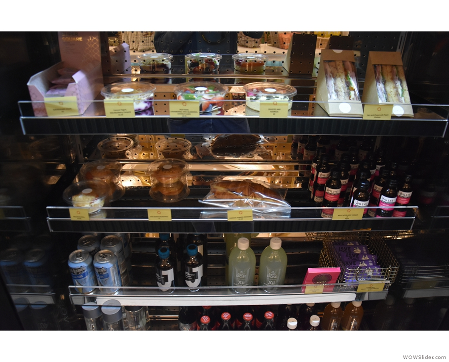 There's a chiller cabinet with soft drinks and sandwiches/cakes to go...