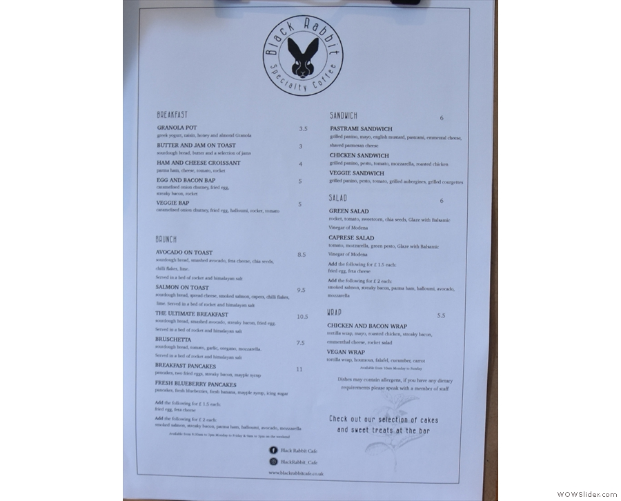 ... with a more detailed brunch menu on the counter-top...