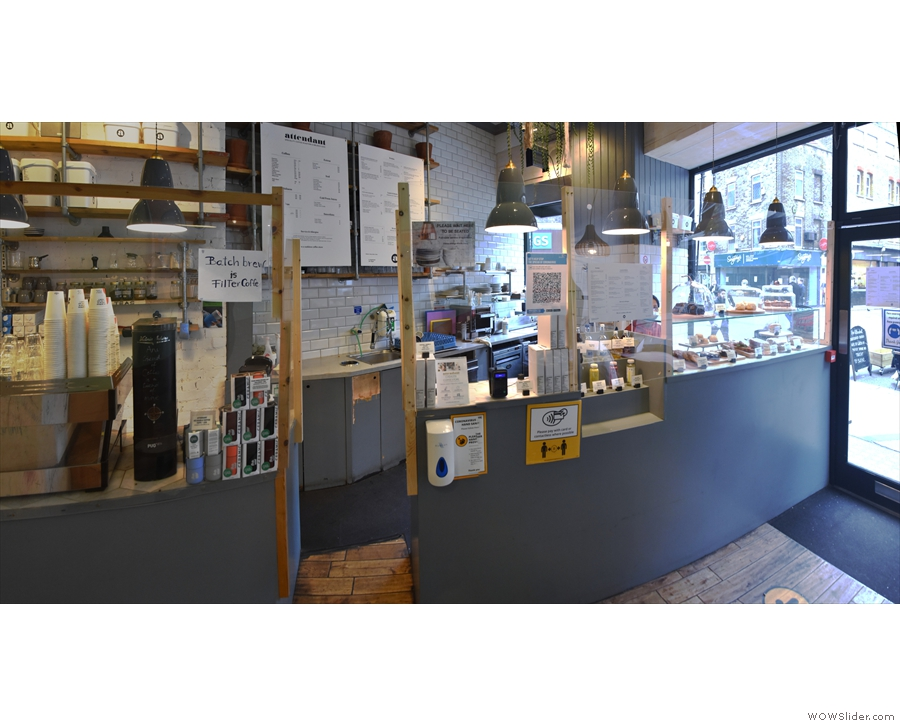 Inside, and the counter, with its Perspex screens, is to the right...