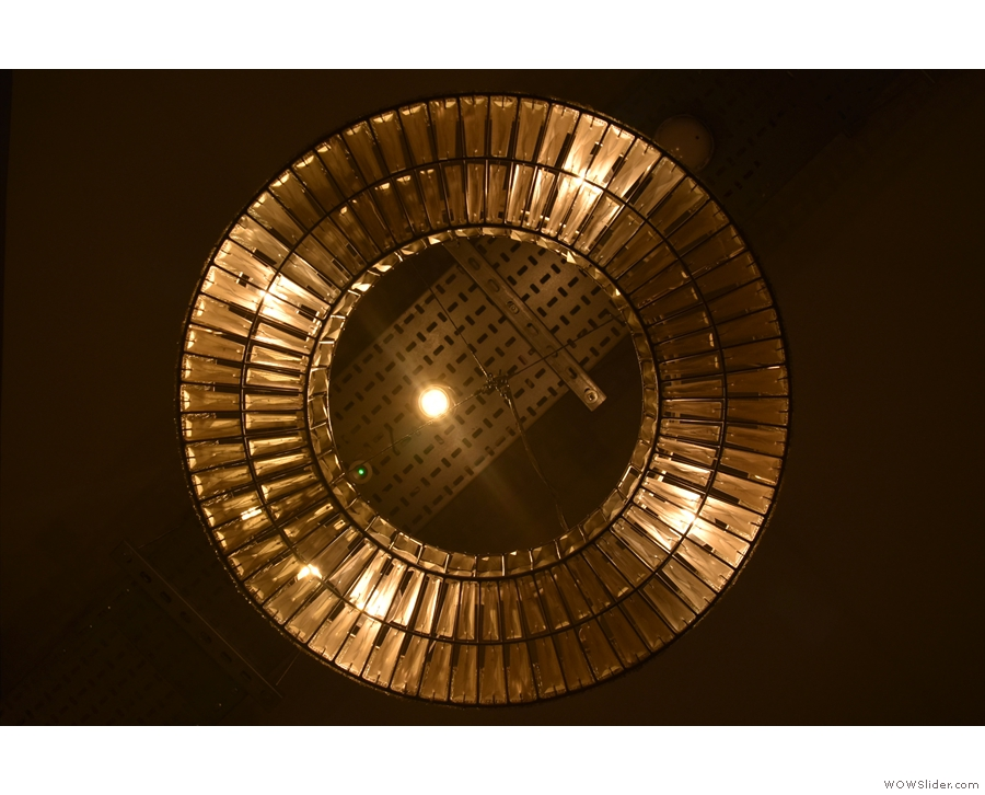 This interesting light fitting (seen from below) hangs above the stairs at the back...