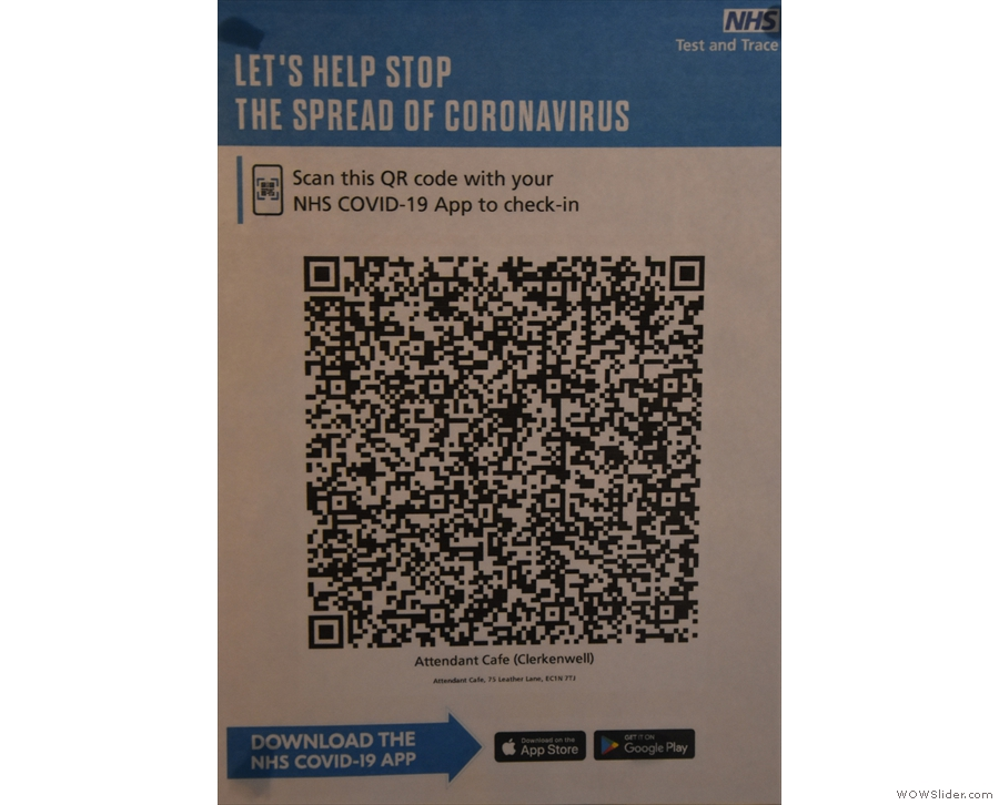 To business. The obligatory QR Code for the NHS COVID-19 app is clearly displayed...