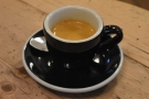 I had an espresso, made with the house espresso, the Esmeralda from Brazil...