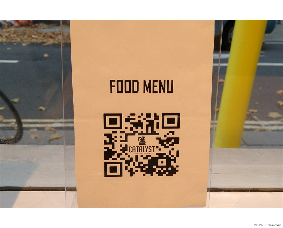... while you'll also find QR Codes on the tables which take you to the menus on-line.