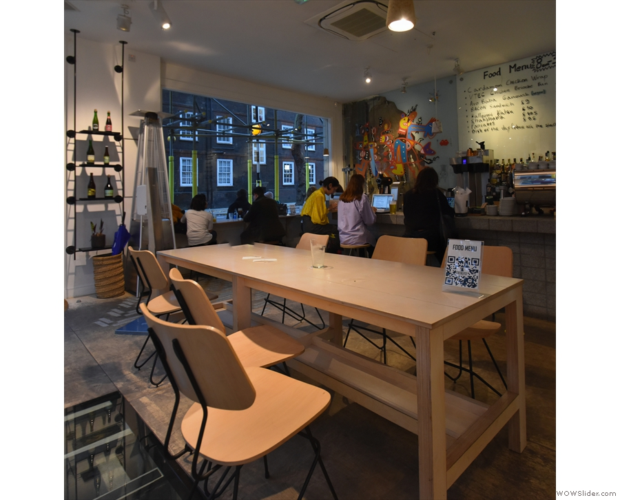 The view from the window-bar across the communal table in the centre of Catalyst...