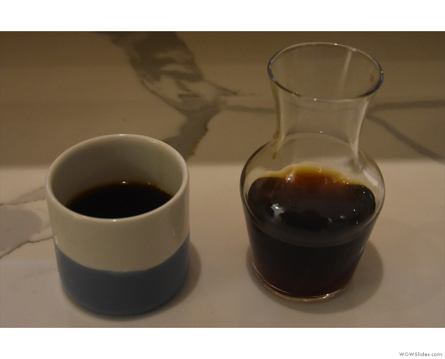 ... served in a carafe with a cup on the side.