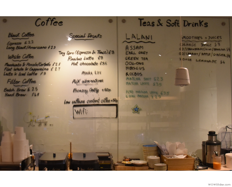 ... coffee, tea and soft drinks in the middle...