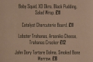There's also a separate food menu for Friday evenings...