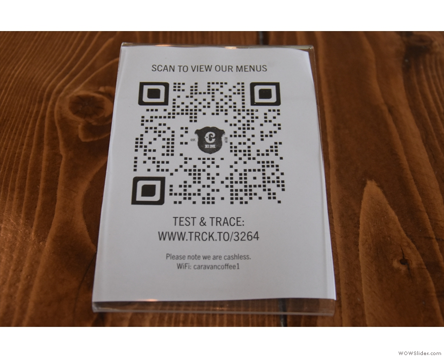 ... and a QR Code to take you to the menus (and an alternative track and trace system).
