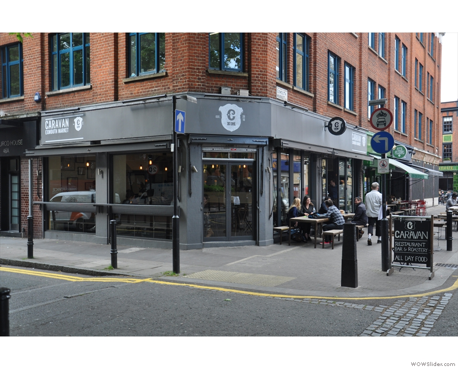 ... looking much as it did in 2017, although back then there were no tables on Pine Street.