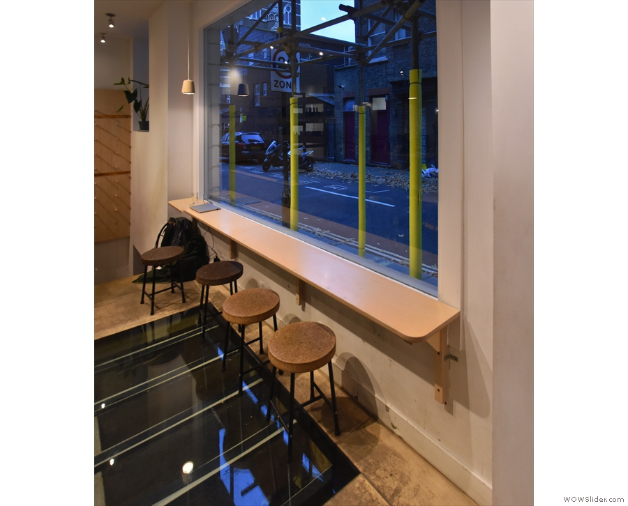 There's a series of glass windows in the floor at the front of Catalyst...