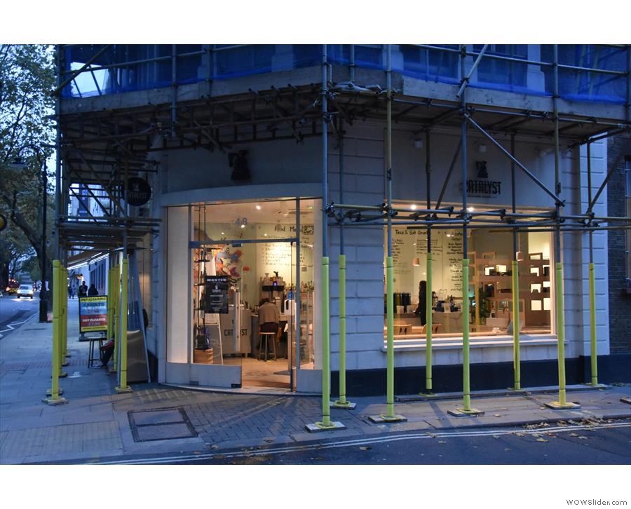 Catalyst, in the October gloom, shrouded in scaffolding on Grays Inn Road.