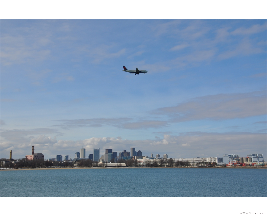 The city made a good backdrop for the continuing stream of planes coming in to land.