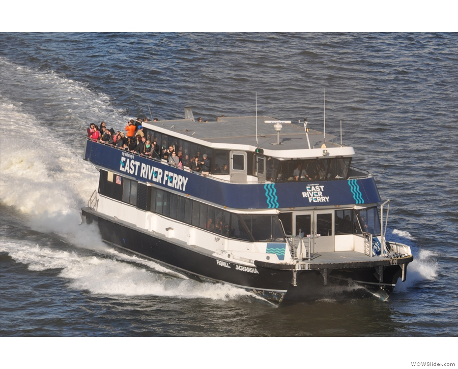 As well as trains and automobiles, there's also river traffic, like this East River Ferry.