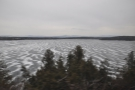 ... as the train made its way alongside the frozen lake...