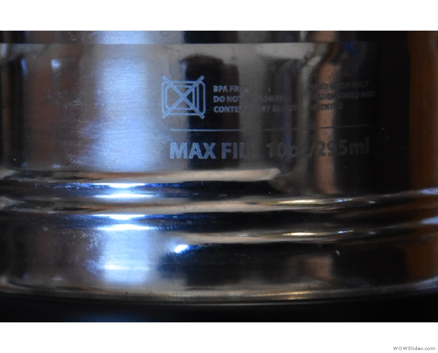 However, the max fill line, on just one side of the cup, is small and hard to see.