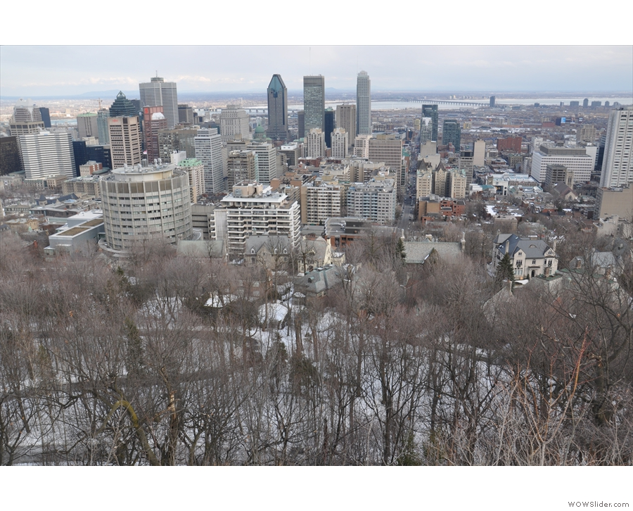 The view down to the foot of Mt Royal...