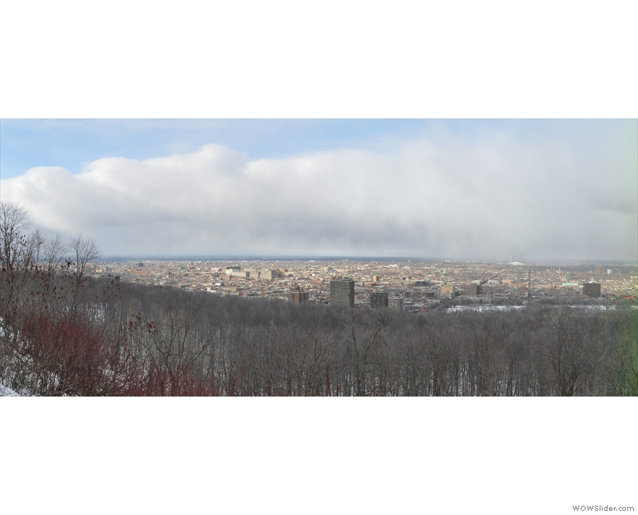 In the brief gap between the clouds, I got a panorama looking north across Le Plateau.