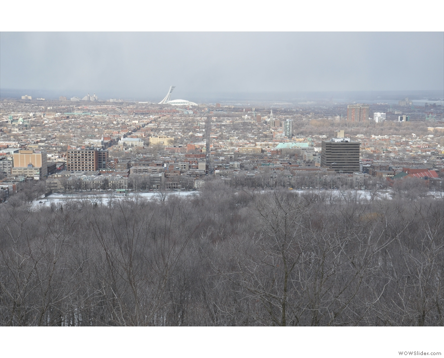 Here's the view northeast off to a very distant Olympic Stadium...