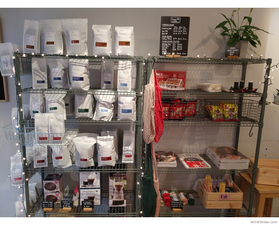 The shelves on the other side have more traditional coffee shop fare...