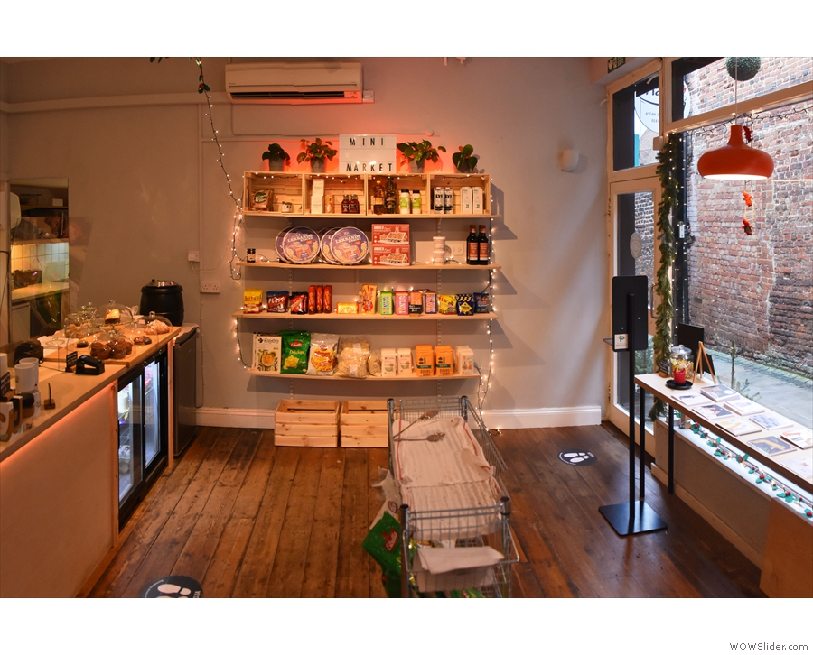 This is the view back towards the door and the retail shelves...