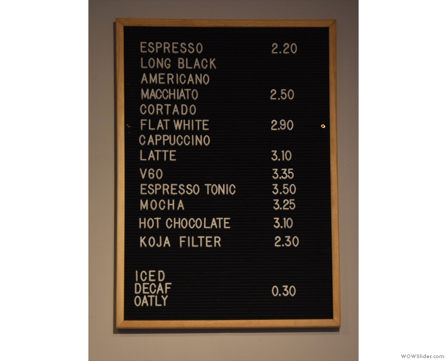 The menu, as ever, is on the wall behind the till...