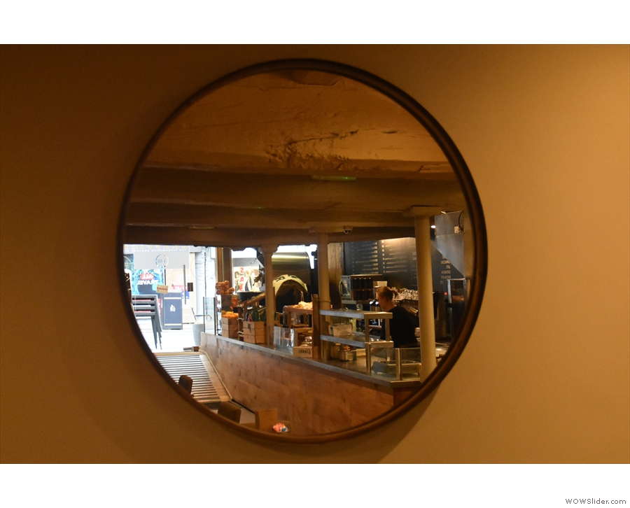 April: Bridge St Coffee in Chester, through the looking glass.