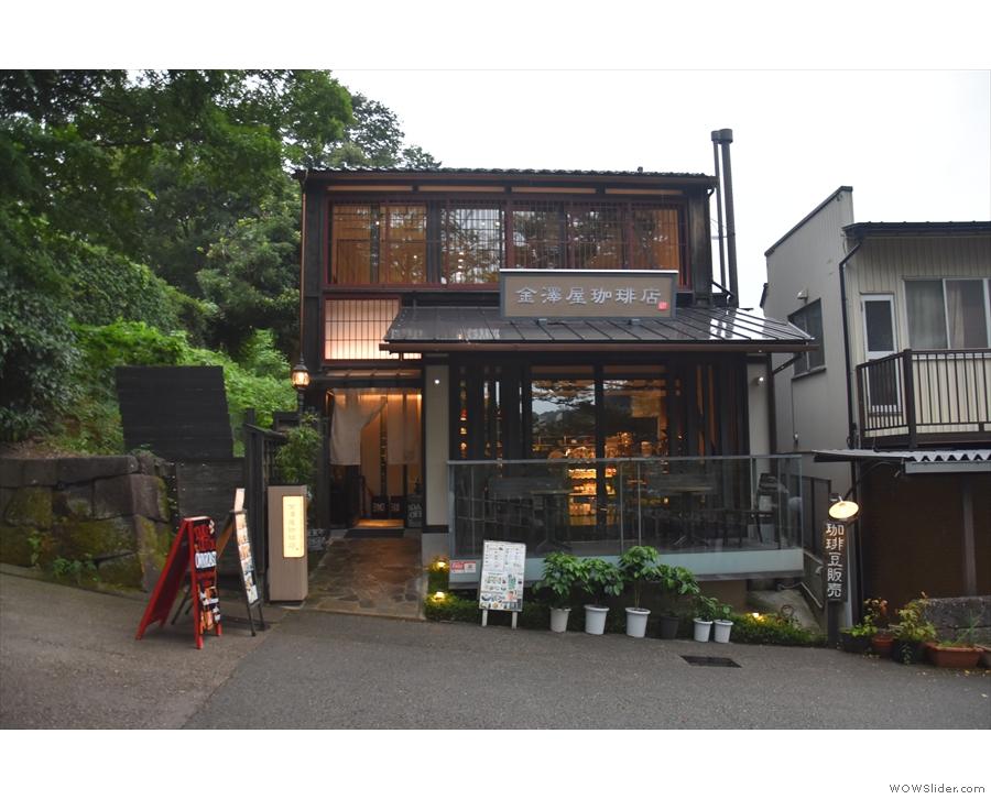 August: taking shelter from the rain in Kanazawaya Coffee Shop Head Office, Kanazawa.