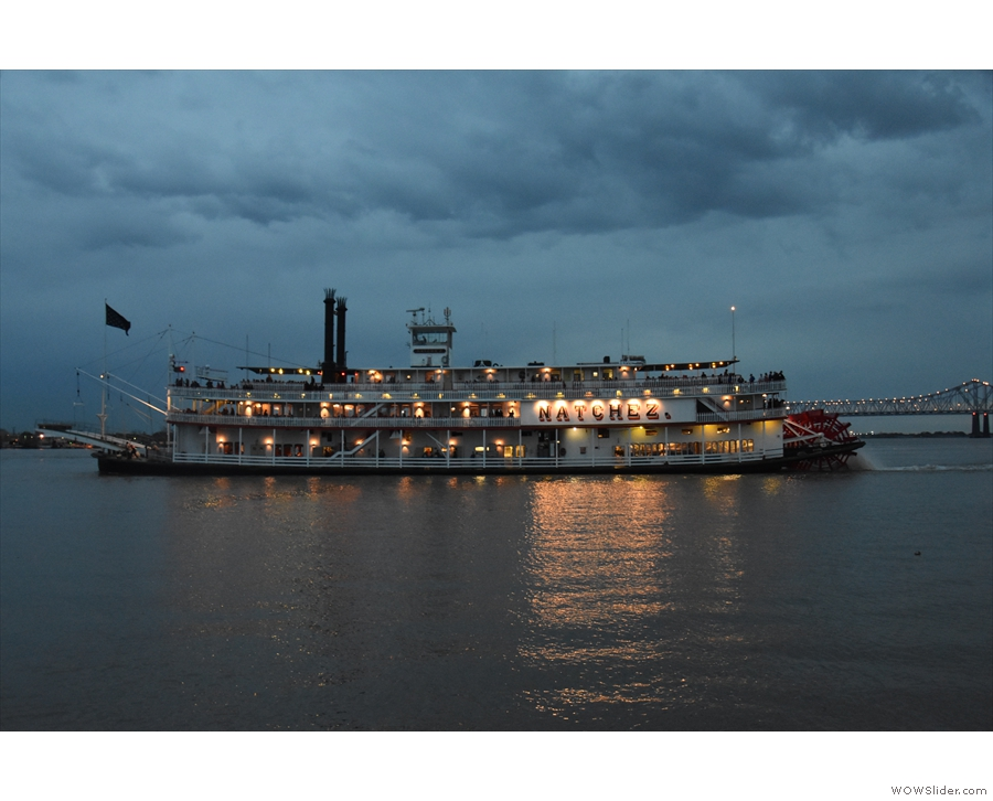 ... and was lucky enough to see the paddle steam, Natchez, setting off for a cruise.