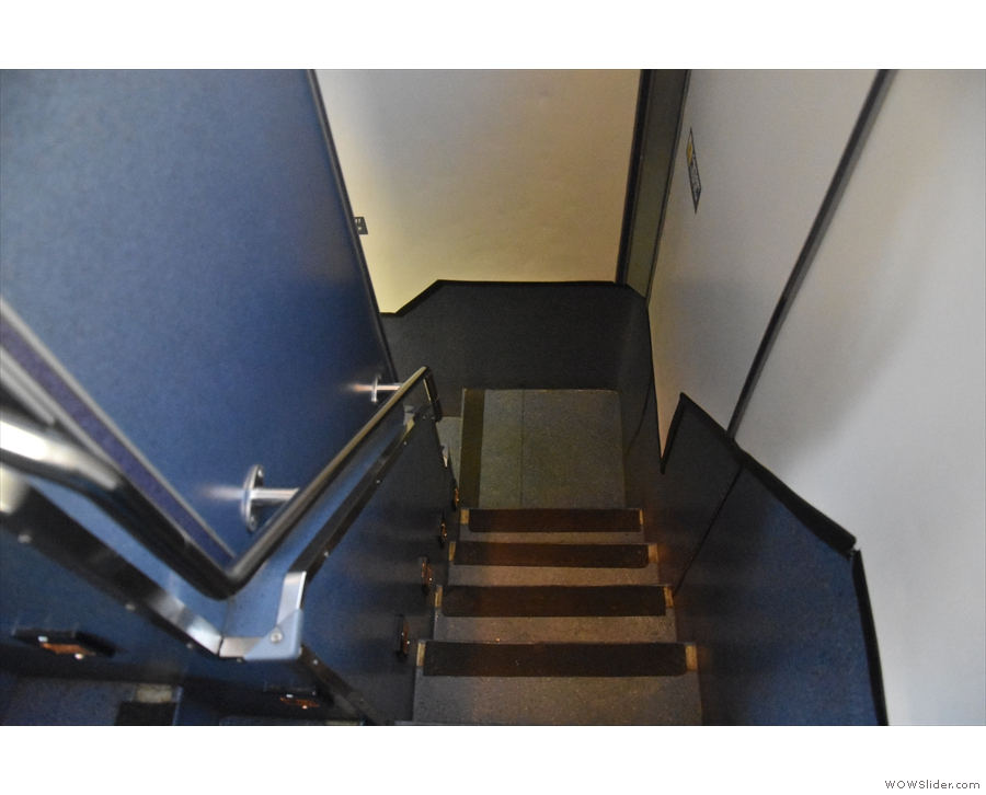 You get to the upper deck via this steep, narrow staircase...