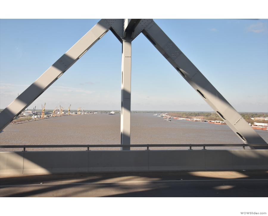... as we headed across the Mississippi on the Huey P Long Bridge.