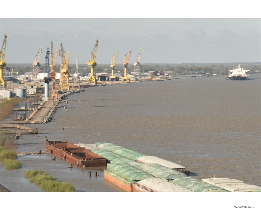 The Mississippi is a very busy river, with plenty of freight and working docks.