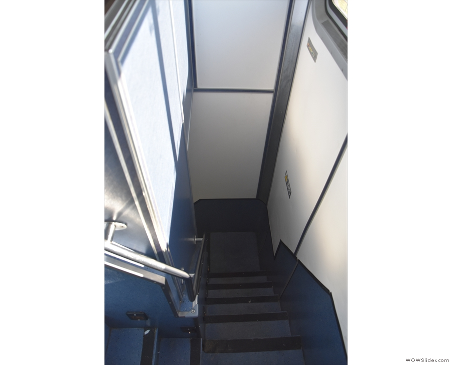 ... which, like all Amtrak stairs, are steep and narrow, with turns along the way.
