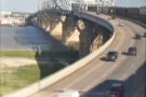 The bridge also carries Route 90 and both road and train tracks turn to the west...