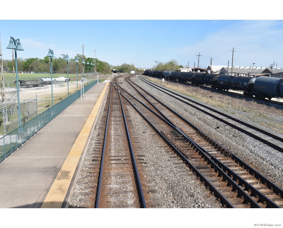 The view from the back of the train as we stand at Beaumont Station in Texas.