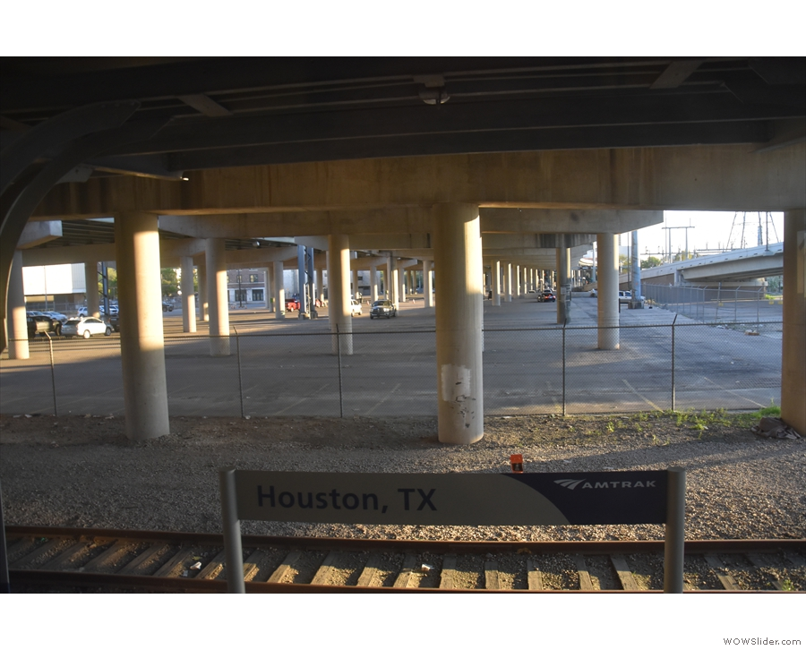 And here we are: Houston Station, conveniently located under Interstate 45!