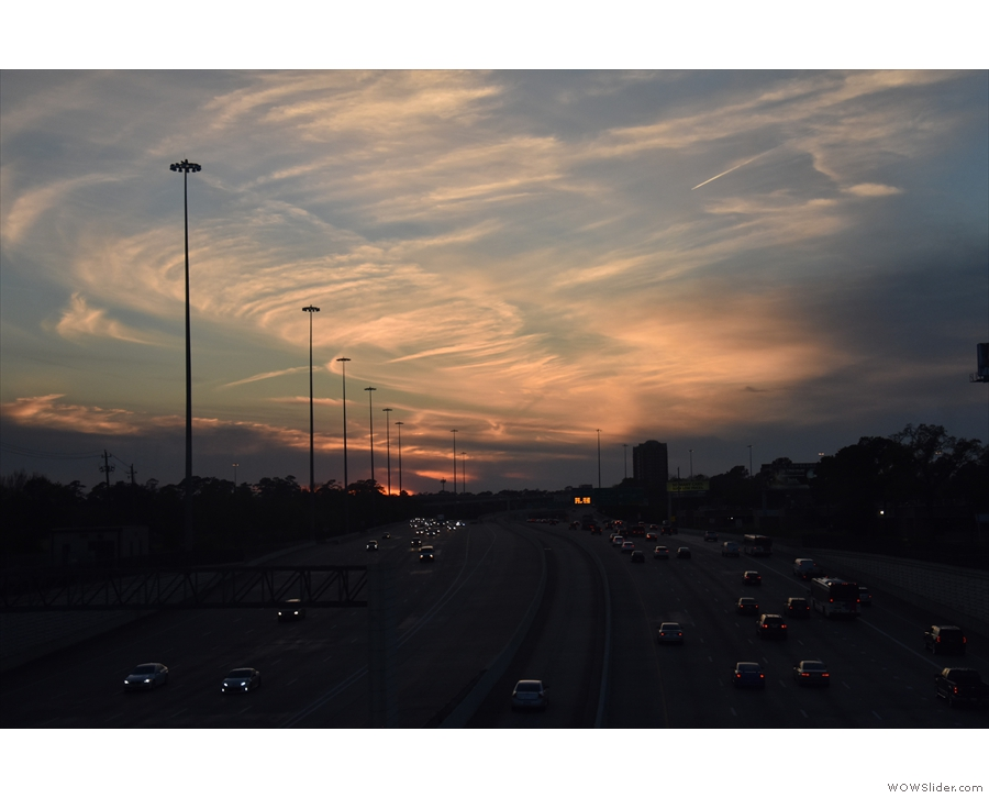 ... emerging from under the freeway to a glorious sunset.