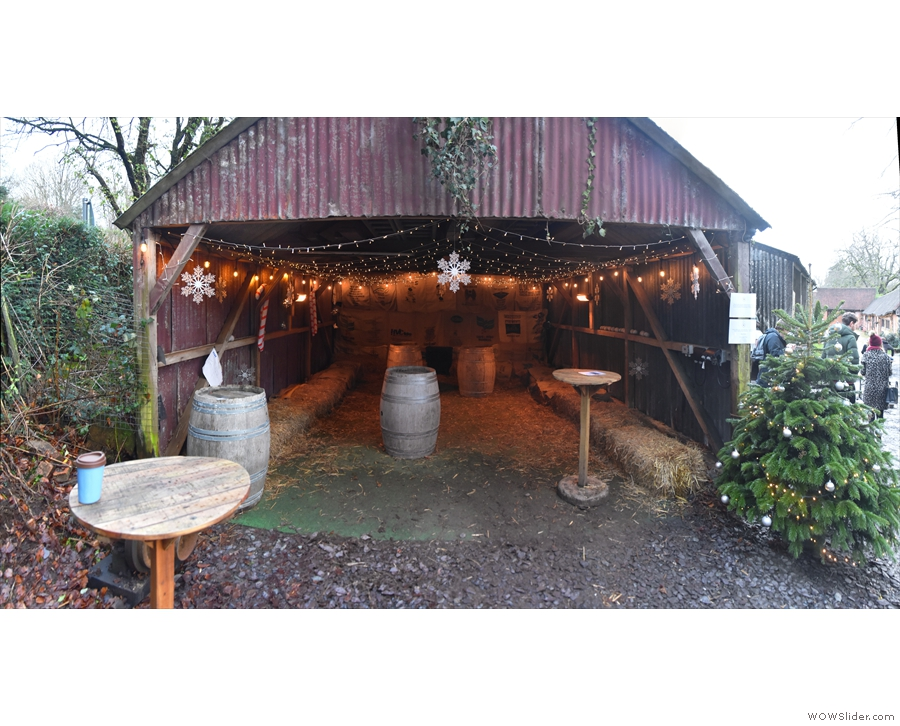 If you are staying, you can sit in this open barn to the left of the horsebox/coffee bar...