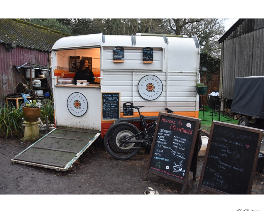 ... a converted horsebox, converted, of course, into a coffee bar!