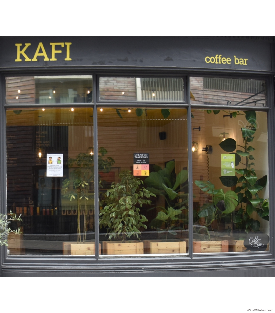 Moving up to London, but staying with the theme of moving to takeaway only, it's Kafi.