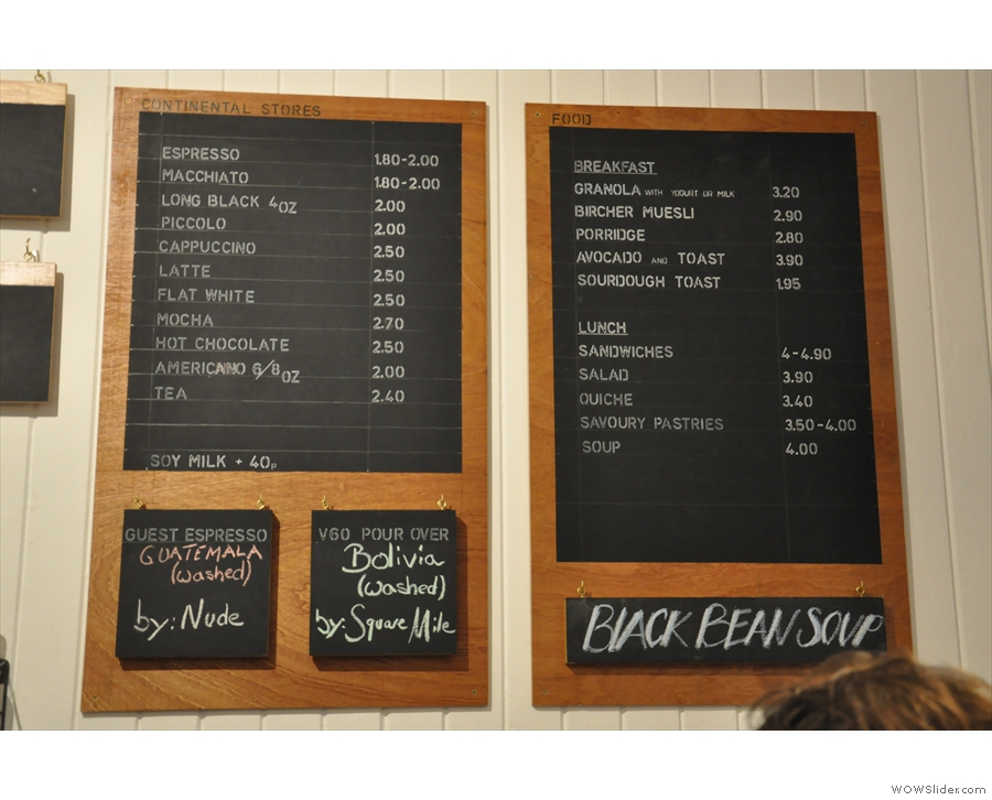 The coffee and food menu... Now, what's that on the right?