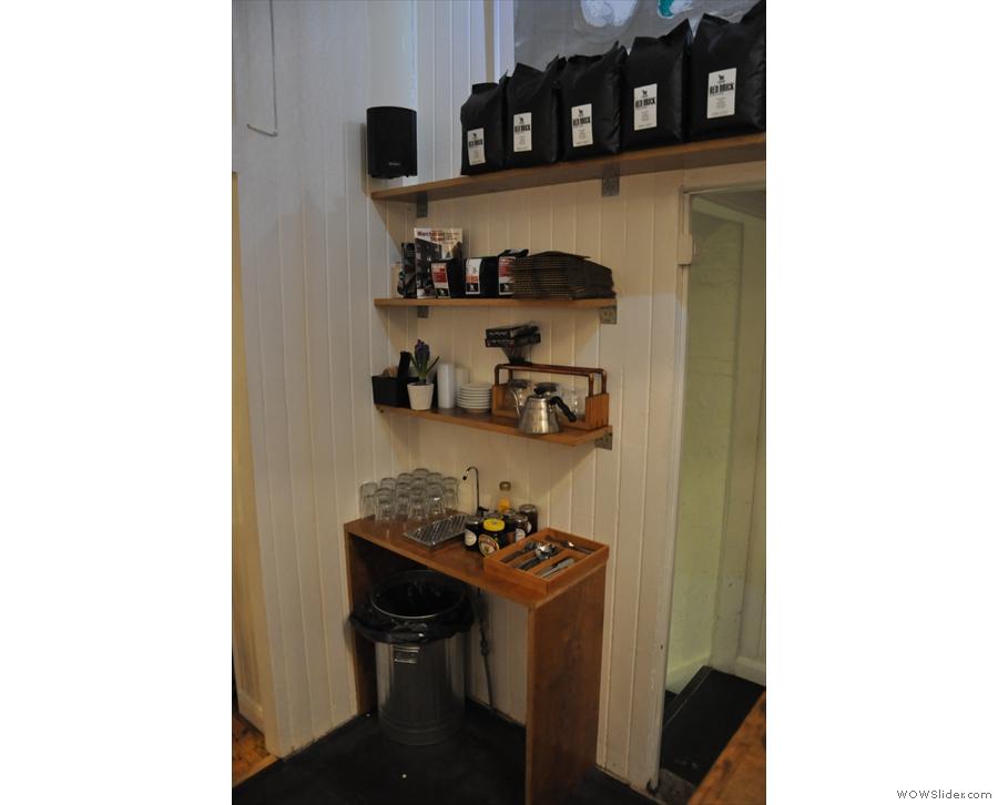 Coffee corner, beyond the counter.