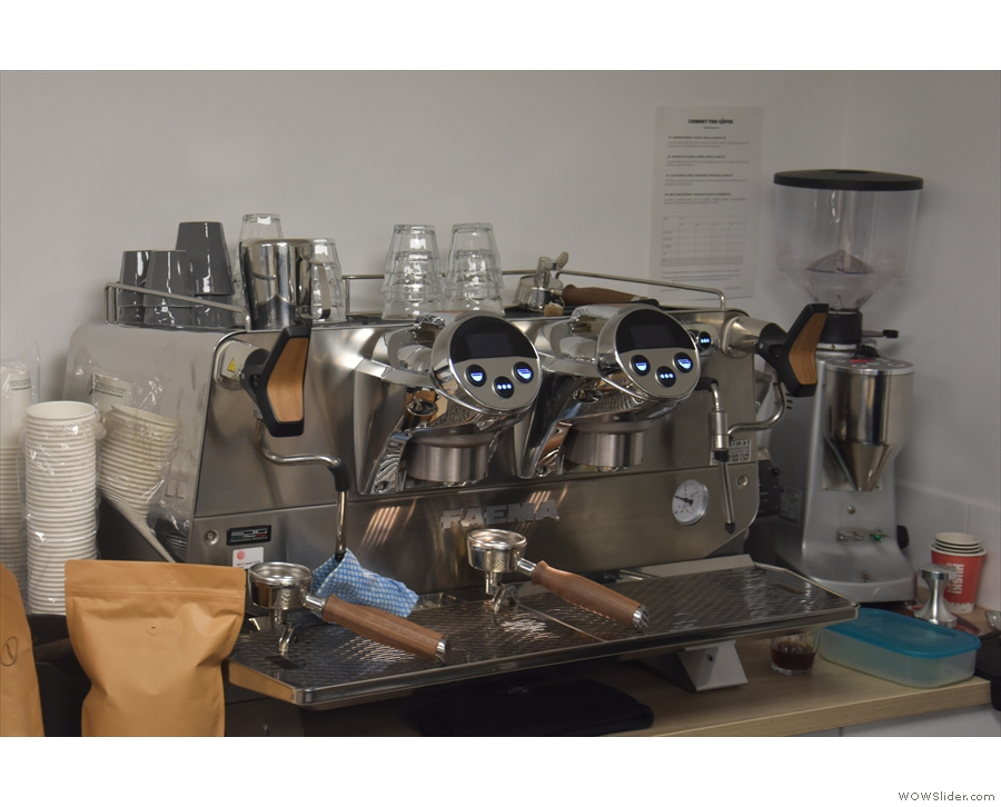 Another vital piece of roastery equipment: a Faema President espresso machine.