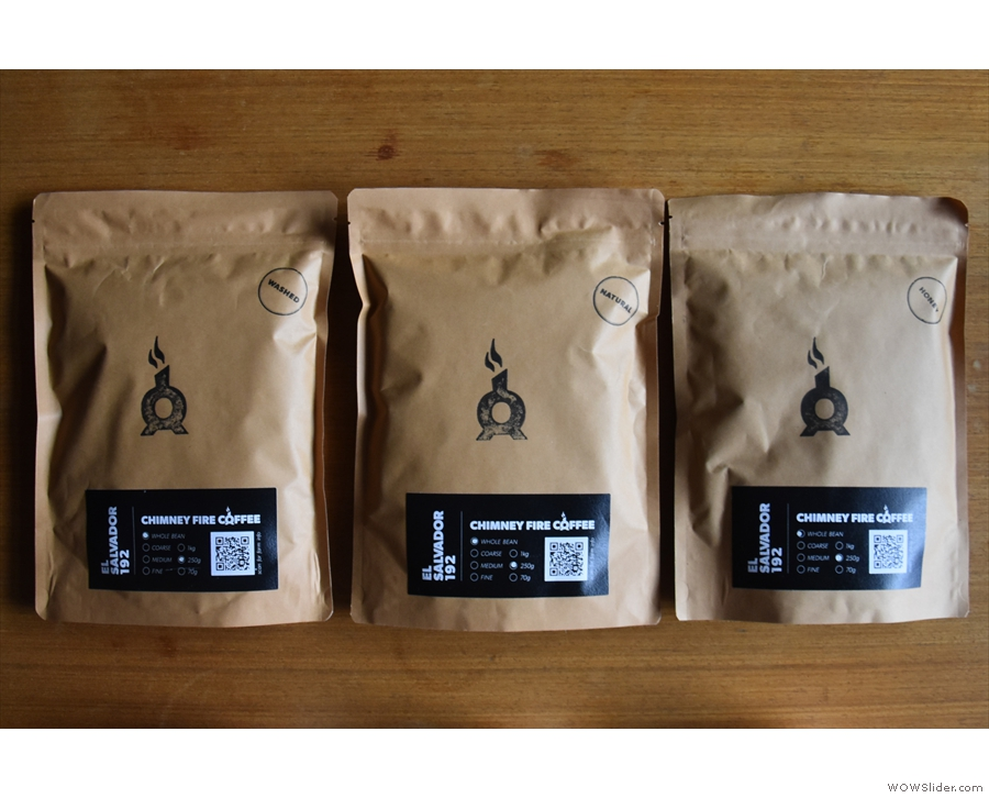 Coffee from the Don Tomas Estate in El Salvador, which has been processed three ways...