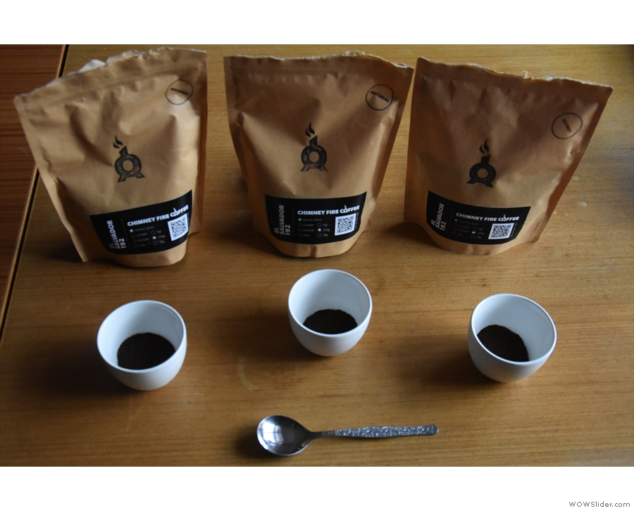 Next, grind the coffee, take in the aroma, and put the ground coffee back in the bowls...