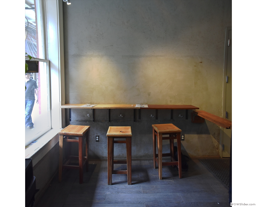... and three stools by the window at the front.