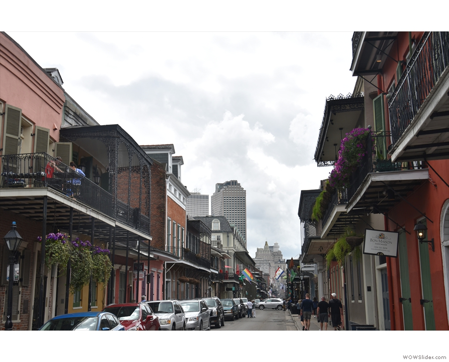 Looking down Bourbon Street to the Central Business District from outside my apartment.