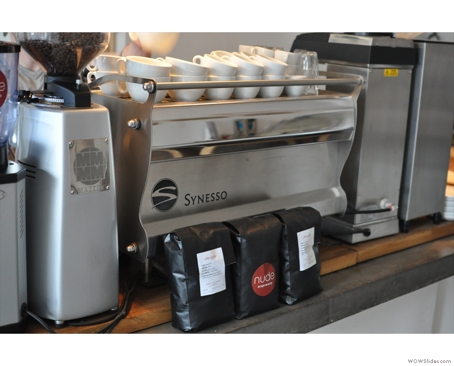 The espresso machine with some Nude Espresso beans for sale