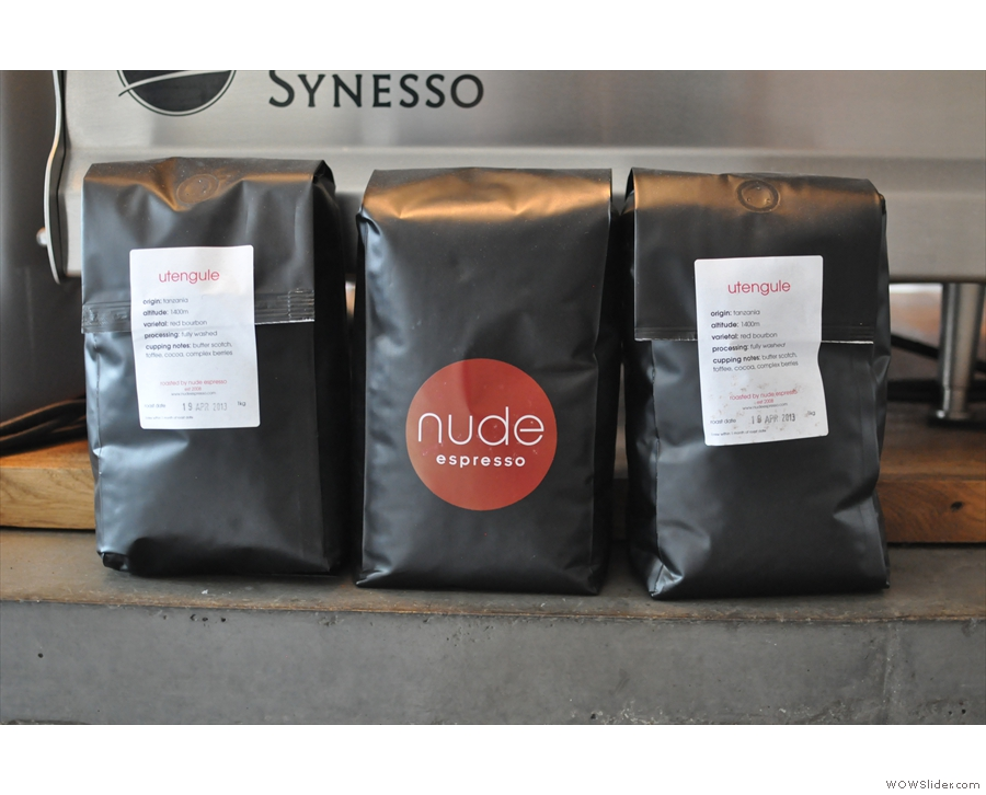 These beans, from guest roaster Nude, are yours to take home with you. I expect Store Street would want paying though!