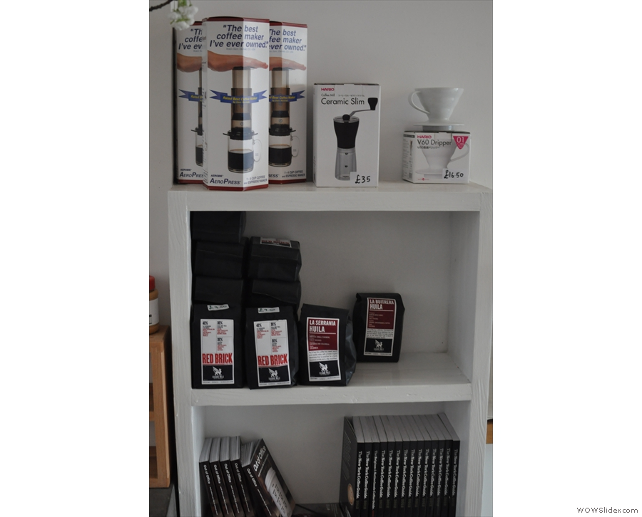 Opposite the espresso machine is a little shelf selling coffee-making equipment and some more beans, this time from Square Mile.
