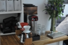 The V60 pour-over brew bar, and, a nice, touch, water on tap.